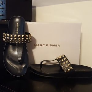 New Womens Marc Fisher Blk Leather Sandals Size 8